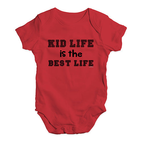 Funny Baby Bodysuits Kid Life Is The Best Life Baby Unisex Baby Grow Bodysuit 0-3 Months Red