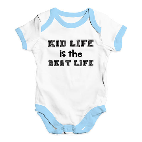 Funny Baby Bodysuits Kid Life Is The Best Life Baby Unisex Baby Grow Bodysuit 3-6 Months White Blue Trim