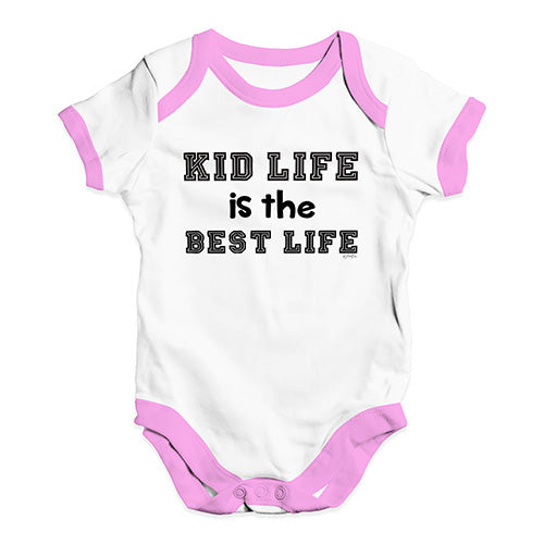 Funny Baby Onesies Kid Life Is The Best Life Baby Unisex Baby Grow Bodysuit 3-6 Months White Pink Trim