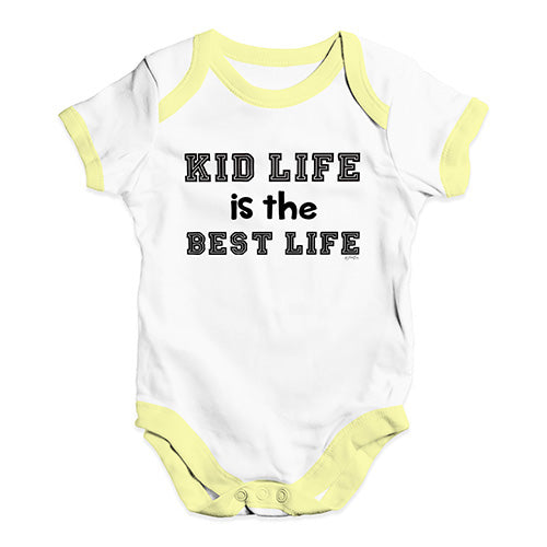 Funny Baby Onesies Kid Life Is The Best Life Baby Unisex Baby Grow Bodysuit 0-3 Months White Yellow Trim