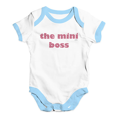 Funny Baby Bodysuits The Mini Boss Baby Unisex Baby Grow Bodysuit 0-3 Months White Blue Trim