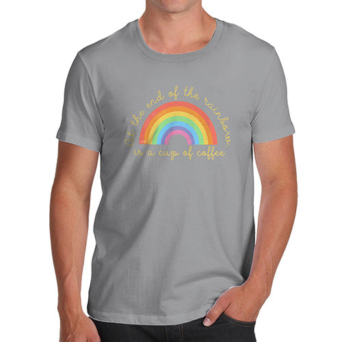 Novelty T Shirts For Dad The End Of The Rainbow Men's T-Shirt Large Light Grey