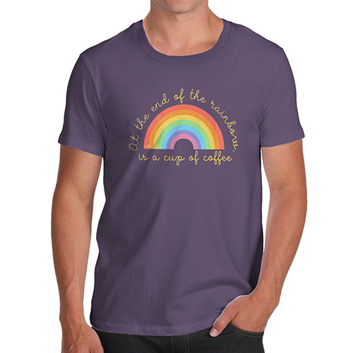 Funny Tee For Men The End Of The Rainbow Men's T-Shirt Large Plum