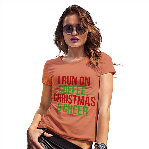 56e4e2bb0 ... Funny T Shirts For Mom I Run On Coffee Christmas and Cheer Women's T- Shirt ...