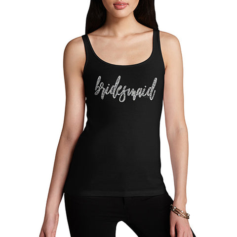 Womens Humor Novelty Graphic Funny Tank Top Bridesmaid Silver Women's Tank Top Large Black