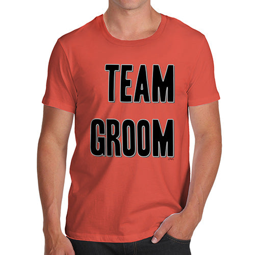 Funny Mens T Shirts Team Groom Silver Men's T-Shirt Medium Orange