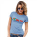 Funny T Shirts For Mom Kiss Me Mistletoe Women's T-Shirt Small Sky Blue