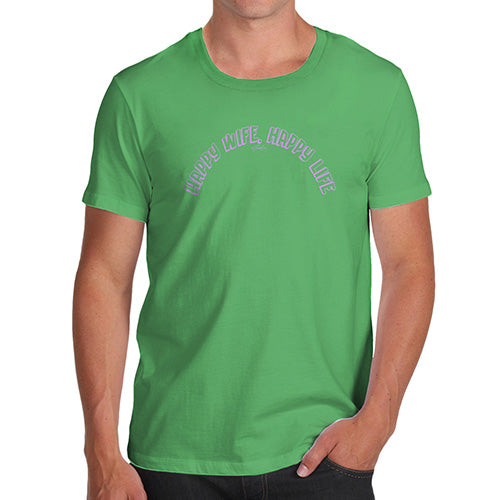 Funny T-Shirts For Men Sarcasm Happy Wife Men's T-Shirt X-Large Green