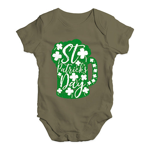 Baby Girl Clothes St Patrick's Day Tankard Baby Unisex Baby Grow Bodysuit 6-12 Months Khaki