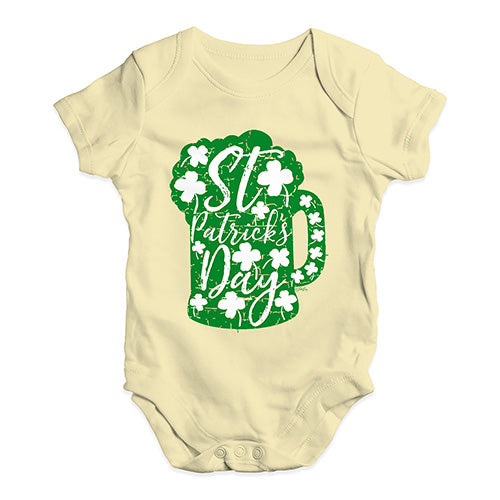 Baby Grow Baby Romper St Patrick's Day Tankard Baby Unisex Baby Grow Bodysuit 12-18 Months Lemon
