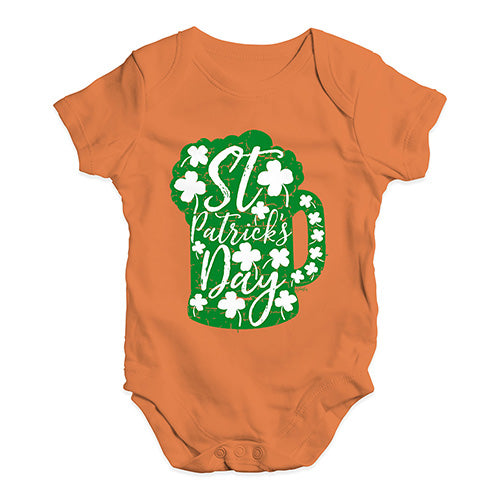Cute Infant Bodysuit St Patrick's Day Tankard Baby Unisex Baby Grow Bodysuit 6-12 Months Orange