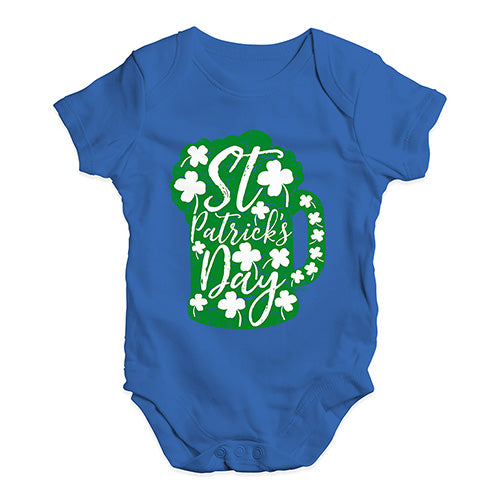 Funny Baby Clothes St Patrick's Day Tankard Baby Unisex Baby Grow Bodysuit Newborn Royal Blue