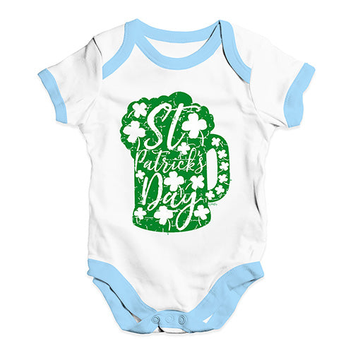 Funny Infant Baby Bodysuit Onesies St Patrick's Day Tankard Baby Unisex Baby Grow Bodysuit 6-12 Months White Blue Trim