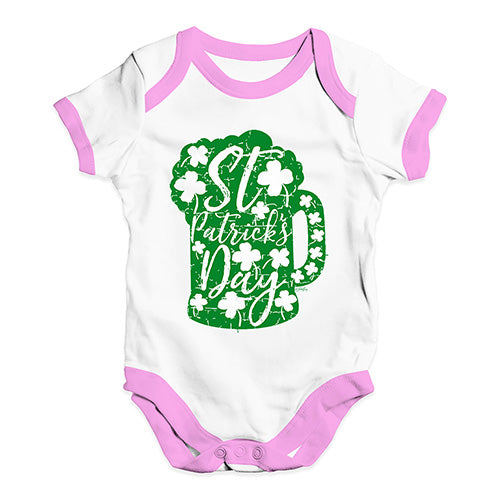 Cute Infant Bodysuit St Patrick's Day Tankard Baby Unisex Baby Grow Bodysuit 12-18 Months White Pink Trim