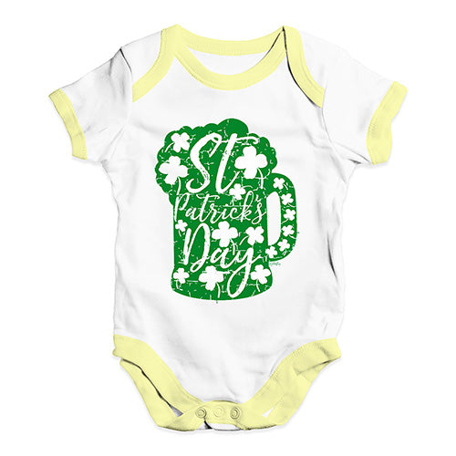 Cute Infant Bodysuit St Patrick's Day Tankard Baby Unisex Baby Grow Bodysuit 3-6 Months White Yellow Trim