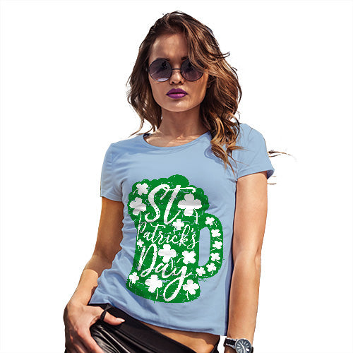 Womens Funny Sarcasm T Shirt St Patrick's Day Tankard Women's T-Shirt X-Large Sky Blue
