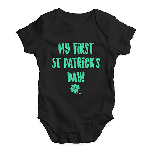 Funny Infant Baby Bodysuit Onesies My First St Patrick's Day Baby Unisex Baby Grow Bodysuit 0-3 Months Black