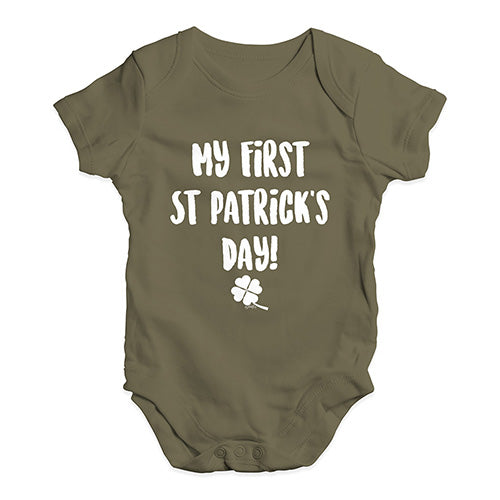 Funny Baby Onesies My First St Patrick's Day Baby Unisex Baby Grow Bodysuit 0-3 Months Khaki