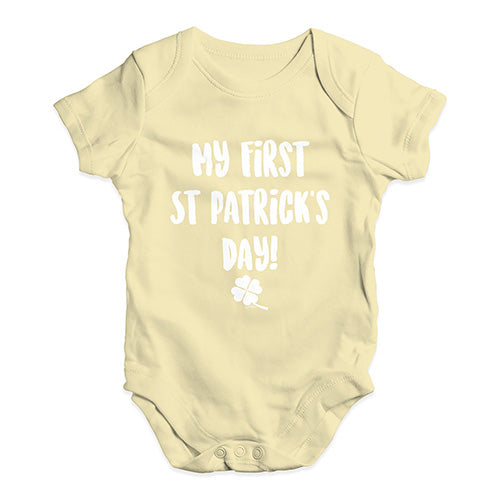 Bodysuit Baby Romper My First St Patrick's Day Baby Unisex Baby Grow Bodysuit 18-24 Months Lemon