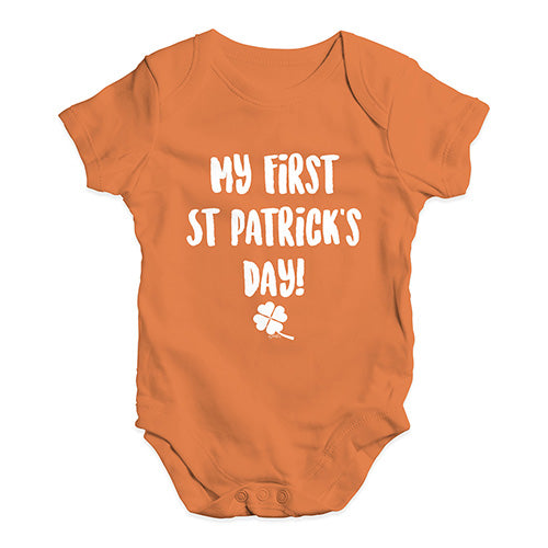 Funny Infant Baby Bodysuit My First St Patrick's Day Baby Unisex Baby Grow Bodysuit 18-24 Months Orange