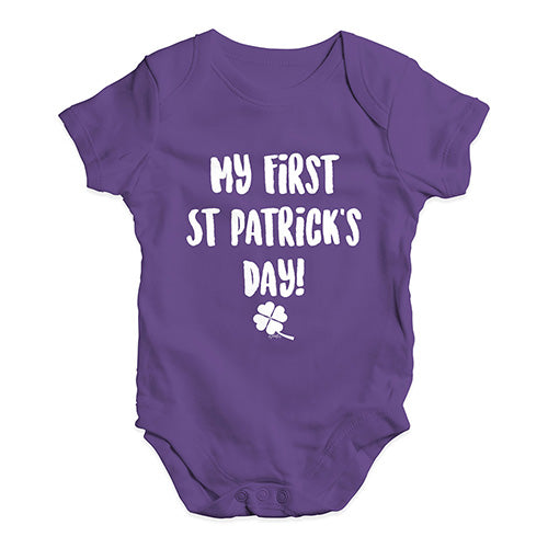 Babygrow Baby Romper My First St Patrick's Day Baby Unisex Baby Grow Bodysuit 3-6 Months Plum