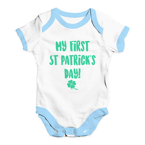 Bodysuit Baby Romper My First St Patrick's Day Baby Unisex Baby Grow Bodysuit 6-12 Months White Blue Trim