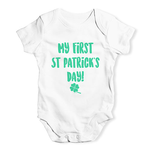Funny Infant Baby Bodysuit My First St Patrick's Day Baby Unisex Baby Grow Bodysuit Newborn White