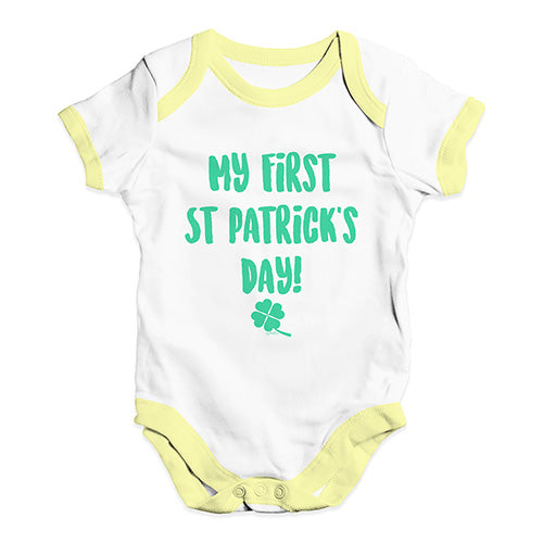 Babygrow Baby Romper My First St Patrick's Day Baby Unisex Baby Grow Bodysuit 12-18 Months White Yellow Trim