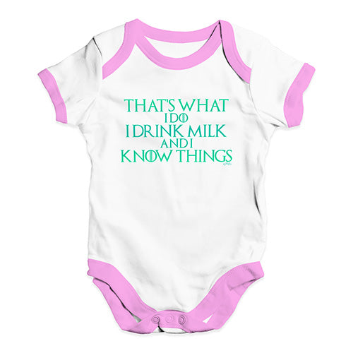 I Drink Milk And I Know Things Game Of Thrones Baby Unisex Baby Grow Bodysuit
