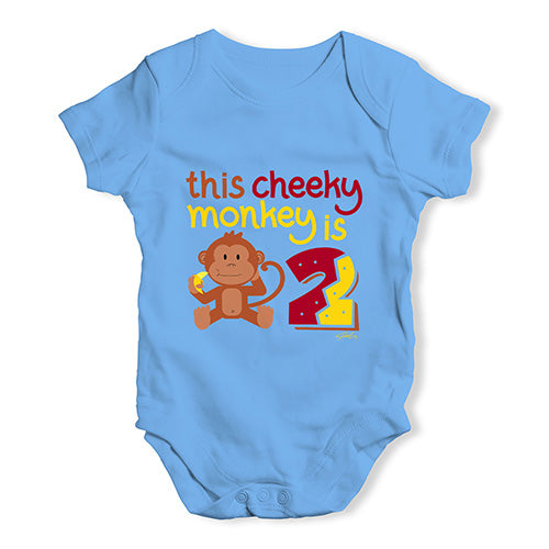 This Cheeky Monkey Is 2 Baby Unisex Baby Grow Bodysuit
