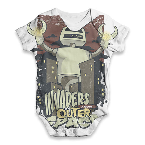Invaders From Outer Space Baby Unisex ALL-OVER PRINT Baby Grow Bodysuit