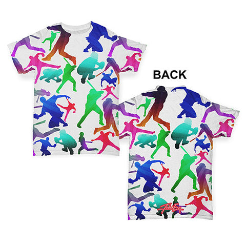 Baseball Players Silhouettes Baby Toddler ALL-OVER PRINT Baby T-shirt