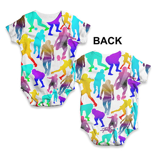American Football Players Illustration Baby Unisex ALL-OVER PRINT Baby Grow Bodysuit