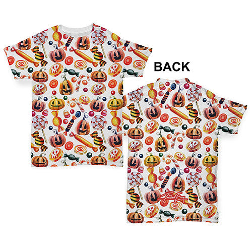 Trick Or Treat Halloween Candy Baby Toddler ALL-OVER PRINT Baby T-shirt