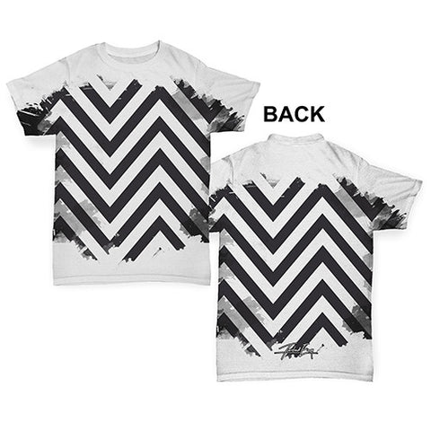 Black & White Geometric Chevron Pattern Baby Toddler ALL-OVER PRINT Baby T-shirt