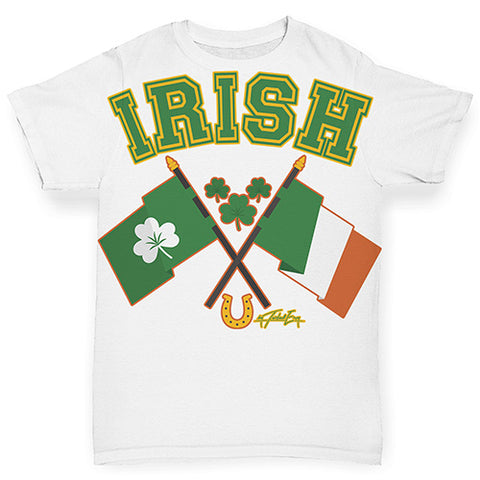 Baby Girl Clothes Irish Flag St Patricks Day Baby Toddler ALL-OVER PRINT Baby T-shirt 18-24 Months White