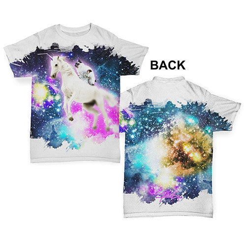 Cat Riding Unicorn In Space Baby Toddler ALL-OVER PRINT Baby T-shirt