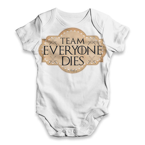 Team Everyone Dies Baby Unisex ALL-OVER PRINT Baby Grow Bodysuit