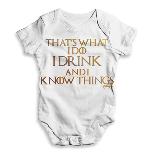 I Drink And I Know Things Baby Unisex ALL-OVER PRINT Baby Grow Bodysuit
