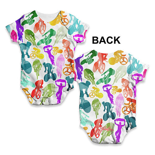Cycling Rainbow Collage Baby Unisex ALL-OVER PRINT Baby Grow Bodysuit