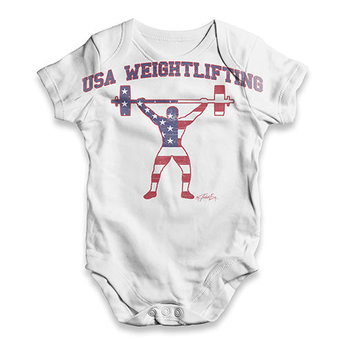 USA Weightlifting Baby Unisex ALL-OVER PRINT Baby Grow Bodysuit