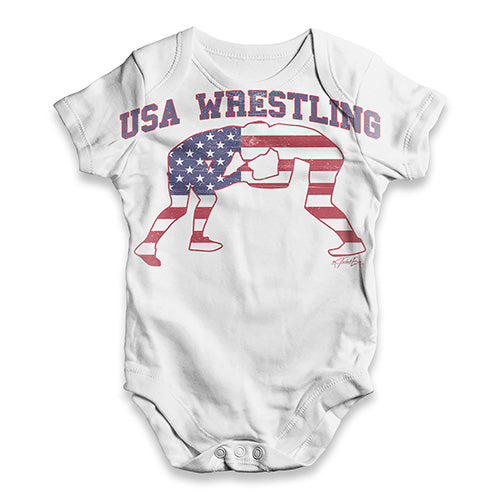 USA Wrestling Baby Unisex ALL-OVER PRINT Baby Grow Bodysuit
