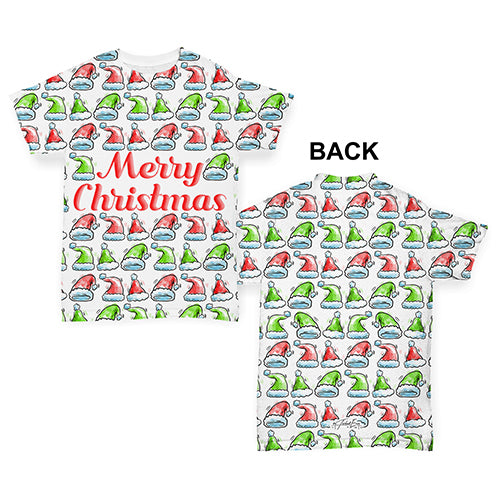 Merry Christmas Santa Hat Pattern Baby Toddler ALL-OVER PRINT Baby T-shirt
