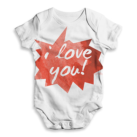 I Love You Spikey Speech Bubble Baby Unisex ALL-OVER PRINT Baby Grow Bodysuit