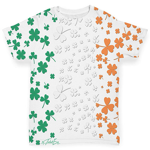 Funny Infant Baby Tshirts Irish Clover Flag Baby Toddler ALL-OVER PRINT Baby T-shirt 6-12 Months White