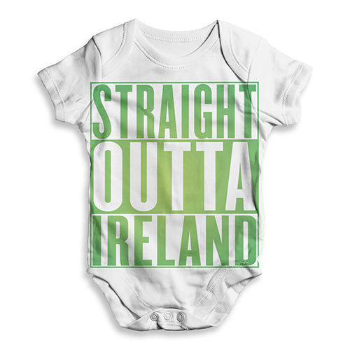 Funny Infant Baby Bodysuit Straight Outta Ireland Green  Baby Unisex ALL-OVER PRINT Baby Grow Bodysuit 0-3 Months White