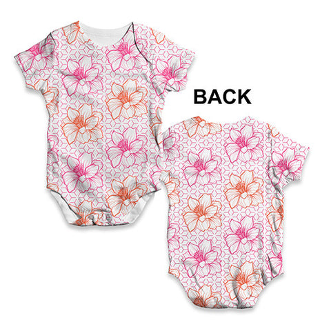 Pink Flower Pattern Baby Unisex ALL-OVER PRINT Baby Grow Bodysuit