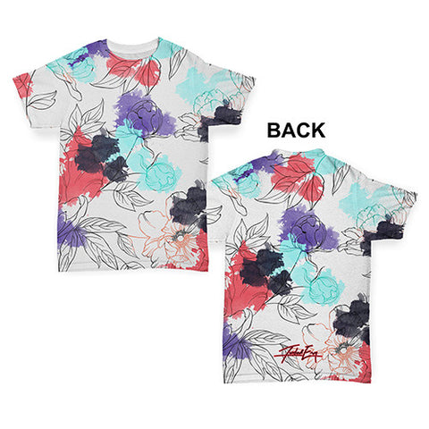 Watercolour Floral Pattern Baby Toddler ALL-OVER PRINT Baby T-shirt