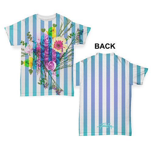 Bouquet And Blue Stripes Baby Toddler ALL-OVER PRINT Baby T-shirt
