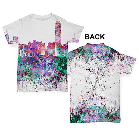 Hong Kong Skyline Ink Splats Baby Toddler ALL-OVER PRINT Baby T-shirt